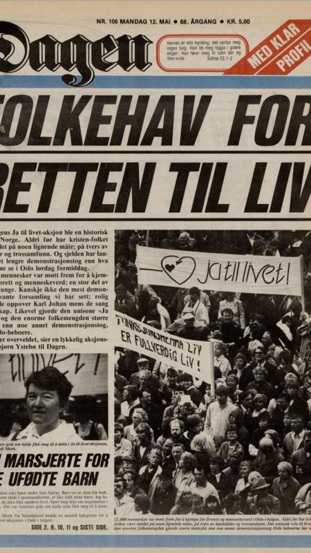 12.000 marsjerte for LIVET i Oslo den 10. mai 1986