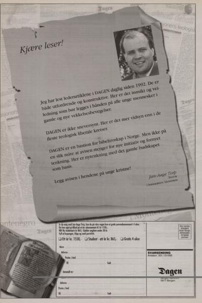 Da avisen Dagens nye sjefredaktør Odd Sverre Hove i år 2000 var den eneste redaktør som forsvarte meg - «han talte når andre tiet»